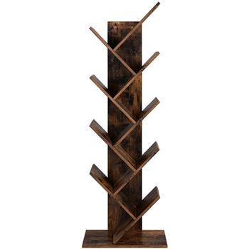 9-Shelf Bookcase Rack, Free Standing Book Storage Organizer,Wooden Tree Bookshelf,Storage for Books, Movies, Video Games, and CDs,Rustic Brown