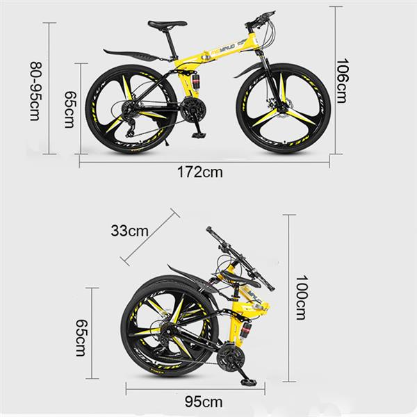 26 inch 21 Speeds Folding Mountain Bikes High Carbon Steel Bicycle Three Knives Wheel Shockproof Mountain Bike Adult