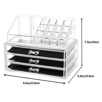 Home Use Space-saving Rectangular Compartments & 3-Layer Drawers Integrated Plastic Makeup Case Tran