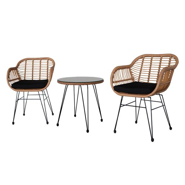 Oshion 3 pcs Wicker Rattan Patio Conversation Set with Tempered Glass Table  Flaxen Yellow