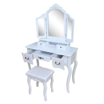 Tri-fold Mirror Dresser with Dressing Stool White