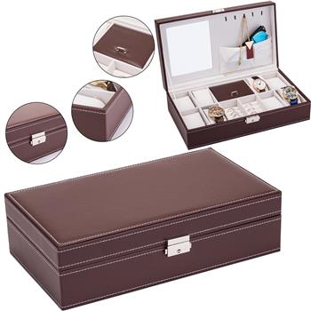 Jewelry Box 8 Slots Watch Organizer Storage Case with Lock and Mirror for Men Women Brown