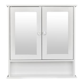 Double Door Mirror Indoor Bathroom Wall Mounted Cabinet Shelf White