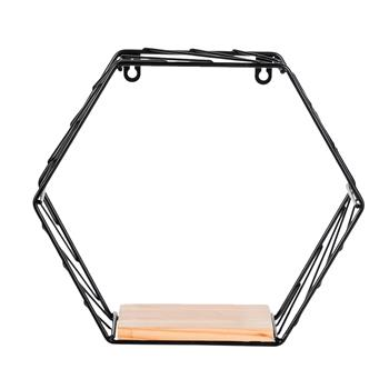 6-Sided High 21cm Small Wall Hanging Storage Black
