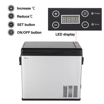 ZOKOP US Standard JK-B-50D DC12V / 24V AC100V-240V 50L / 54Quart / 1.7CU.FT Compressor Touch Screen Car Refrigerator Stainless Steel   Black