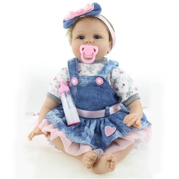 "22"" Beautiful Simulation Baby Girl Reborn Baby Doll in Skirt"