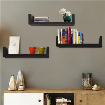 Set of 3 Floating Display Shelves Ledge Bookshelf Wall Mount Storage Home Décor Black