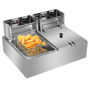 ZOKOP EH82 2500W 220-240V 12.7QT/12L Stainless Steel Double Cylinder Electric Fryer UK Plug