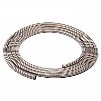 4AN 10Ft General Type Stainless Steel Braided Fuel Hose Silver