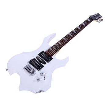 Novice Flame Shaped Electric Guitar HSH Pickup   Bag   Strap   Paddle   Rocker   Cable   Wrench Tool White