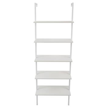5-Shelf Wood Ladder Bookcase with Metal Frame, Industrial 5-Tier Modern Ladder Shelf Wood Shelves,White