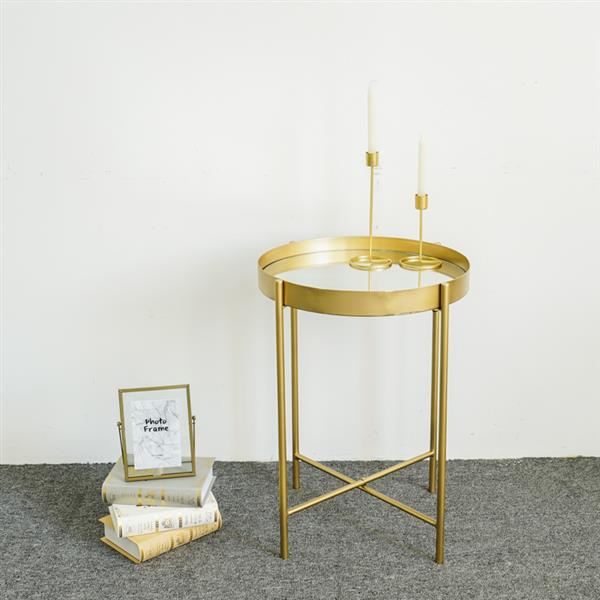 """19"""" Round End table- Gold metal frame circle mirrorred end table for livingroom,bedroom"""