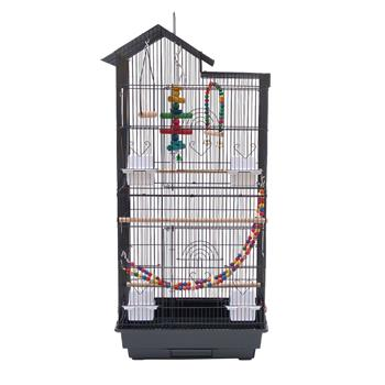 """39"""" Bird Parrot Cage Canary Parakeet Cockatiel LoveBird Finch Bird Cage with Wood Perches & Food Cups 3 Bird Toys Black"""