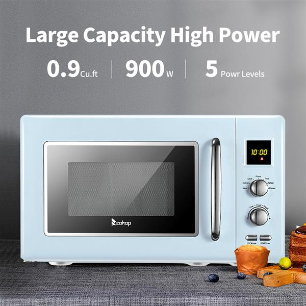 ZOKOP B25UXP45-A90 / Blue 23L/0.9cuft Retro Microwave With Display/Silver Handle