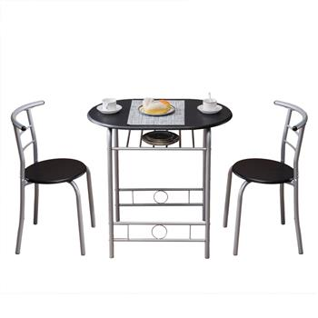 PVC Breakfast Table (One Table and Two Chairs) Black