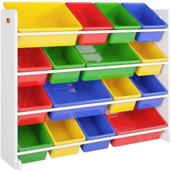 Wooden Kids' Toy Storage Organizer with 16 Plastic Bins,X-Large, Green / Blue / Red / Yellow