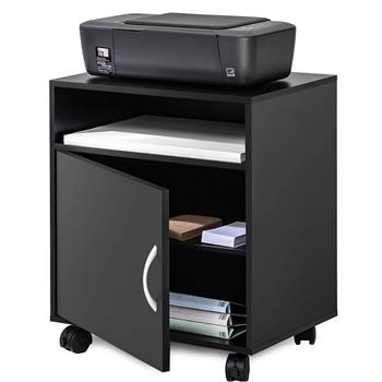 Printer Stand with Storage Mobile Black Wooden Work Cart On Wheels