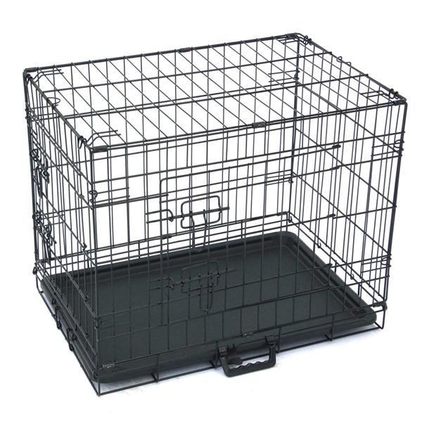"24"" Pet Kennel Cat Dog Folding Steel Crate Animal Playpen Wire Metal"