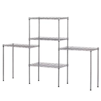 Changeable Assembly Floor Standing Carbon Steel Storage Rack Silver