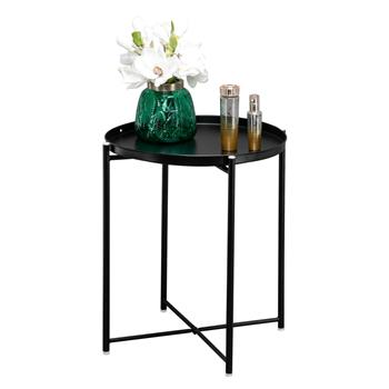 Artisasset Round Metal Countertop And Cross Base Wrought Iron Living Room Side Table Black
