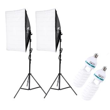 Kshioe 135W Bulb 5070 Single Head Soft Light Box Two Lights Set UK Plug