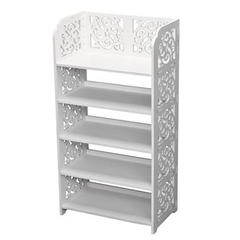 Wood-plastic Board Five Tiers Carved Shoe Rack White A