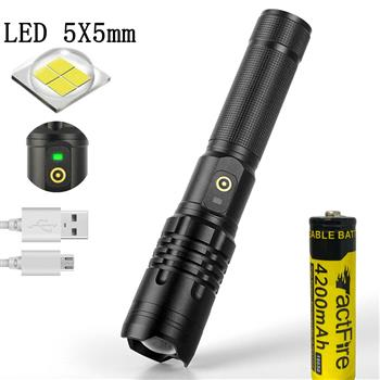Portable Flashlight 5 X5MM LED 20W 5V Micro USB Rechargeable Zoom Flashlight Can Output And Input, Suitable For Camping, Climbing, Night Riding, Caving Waterproof Class IPX4
