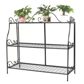 Artisasset Paint With Lace Three-Tier Plant Stand Black