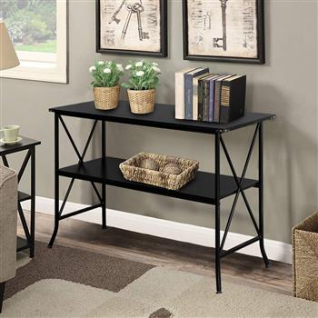 Artisasset Black MDF Countertop Black Wrought Iron Base 2 Layers Console Table