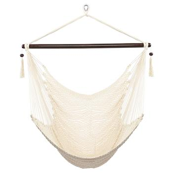 Caribbean Large Hammock Chair Swing Seat Hanging Chair with Tassels Tan