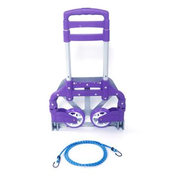 Portable Aluminium Cart Folding Dolly Push Truck Hand Collapsible Trolley Luggage Purple