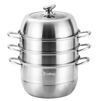 ZOKOP SP-3T Four-Layer 304 Stainless Steel Steamer 11 inch (28cm) 2 Steamer   2 Full Grid