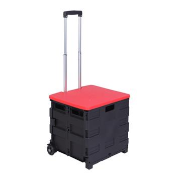 2 Wheels Rolling Utility Cart, Heavy Duty Light Weight 80LB Load Capacity Collapsible Handcart with Red Lid