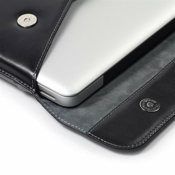 LENTION Split Leather Sleeve Magnetic Snaps Case Bag, Soft Touch, Compatible with 15-inch Slim Laptops (Black)