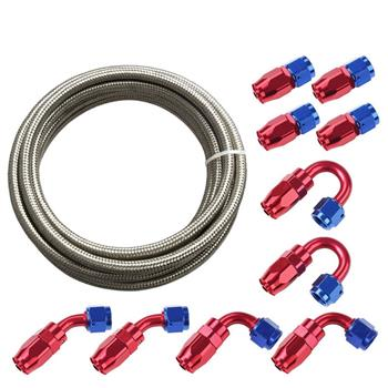Universal 20ft AN-8 Silver Nylon Braided Hose with 10pcs Red & Blue Hose Ends