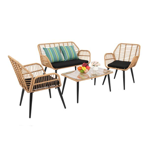 PE Steel Outdoor Wicker Rattan Chair Four-Piece Patio Furniture Set Yellow