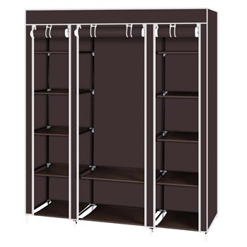 "69"" Portable Clothes Closet Wardrobe Storage Organizer with Non-Woven Fabric  Quick and Easy to Assemble  Extra Strong and Durable Dark Brown"