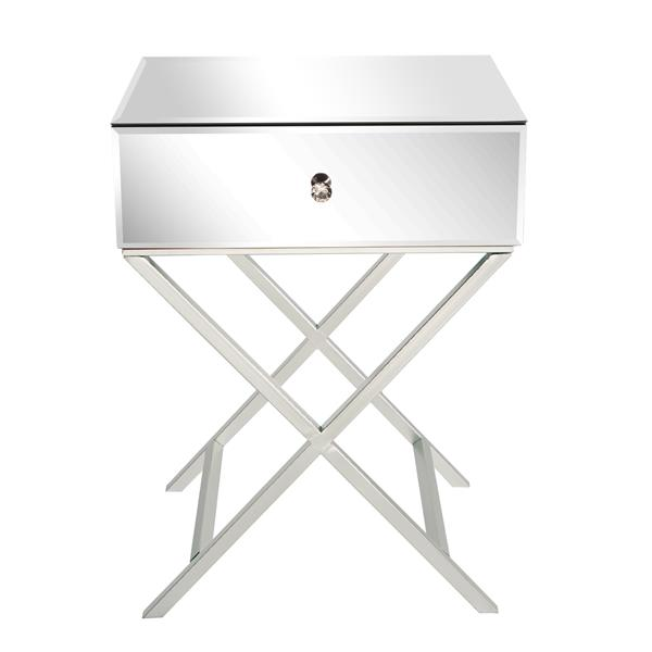 1 drawer mirrored side table - Silver