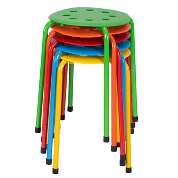 5-Piece Stackable Round Stool In Five Colors