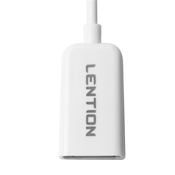 LENTION OTG Data Cable for Data Sharing and Storage, Micro USB Male to USB Female, Environment-Friendly PVC Cable (White)