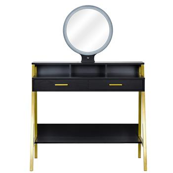 FCH LED Three-Color Touch Round Mirror 2 Drawers With Shelf Frame With Steel Frame Dressing Table Black