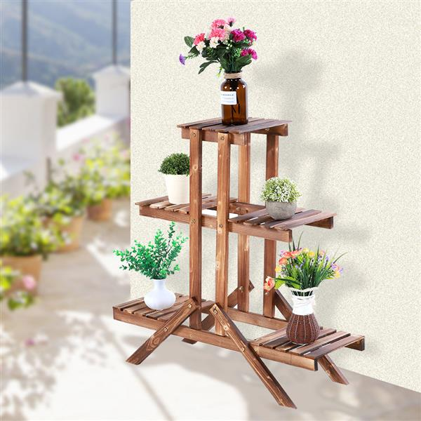 Beautiful Potted Plant Flowers Rack Balcony Courtyard Wooden Fashionable Plants Stand