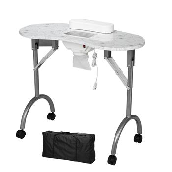 Portable MDF Manicure Table Spa Beauty Salon Equipment Desk with Dust Collector & Cushion & Fan White