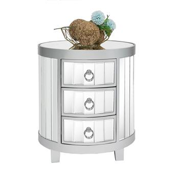 3 drawer mirrored round side table - Silver