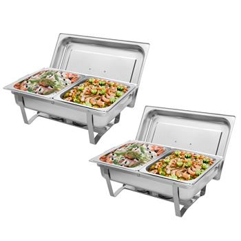ZOKOP 9L*2 Double Grid Each Set 2*1/2 Stainless Steel Rectangular Buffet Stove