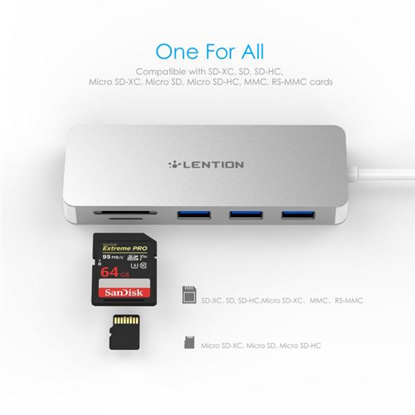 Ban on Amazon platform sales LENTION USB-C Multiport Hub with 3 USB 3.0 Ports, SD Card Reader, Micro SD Card Reader, Compatible with Thunderbolt 3 (Silver)