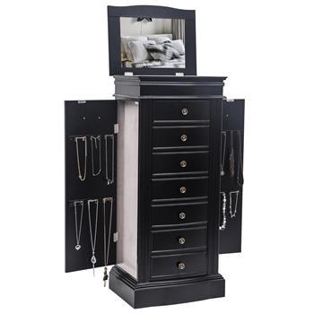 Jewelry Armoire with Mirror, 7 Drawers & 24 Necklace Hooks, 2 Side Swing Doors(Black)