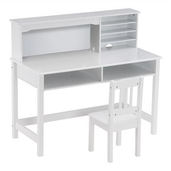 Painted Student Table and Chair Set A, White, 5-layer Desktop, Multifunctional (110*60*66cm)