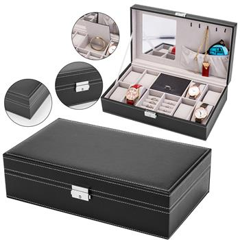 Jewelry Box 8 Slots Watch Organizer Storage Case with Lock and Mirror for Men Women Black