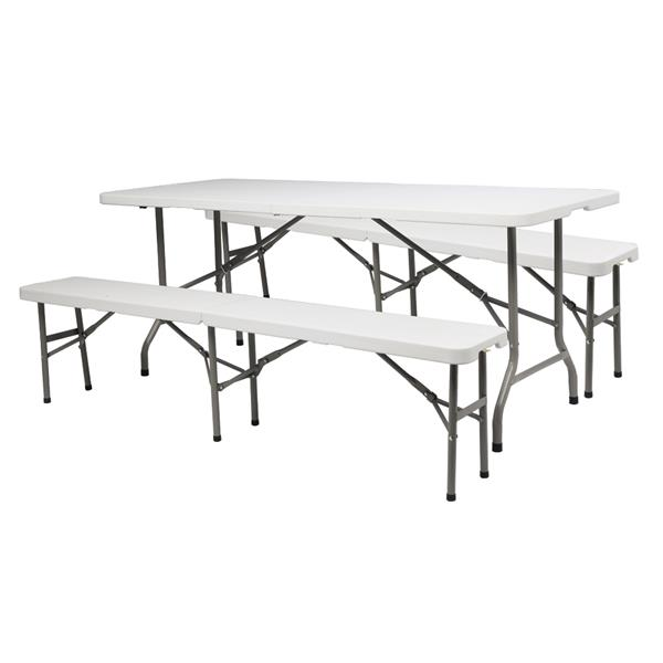 6FT Outdoor Courtyard Foldable Long Table & bench suit